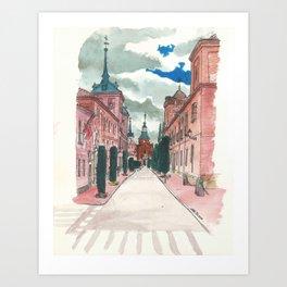 Cloudy street Art Print