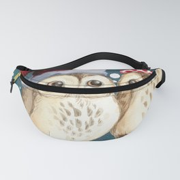 Cute Christmas Winter Owl Couple Painting Fanny Pack