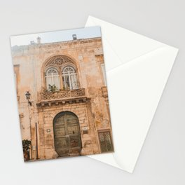 Old Building | Pastel color building | Sunshine over old fashioned building | Lemon & Peach Stationery Cards