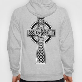 St Patrick's Day Celtic Cross Black and White Hoody