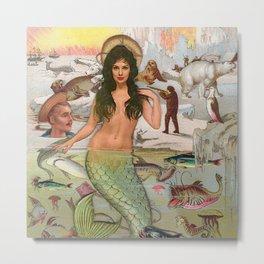 North Pole Mermaid Metal Print