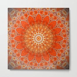 Detailed Orange Boho Mandala Metal Print