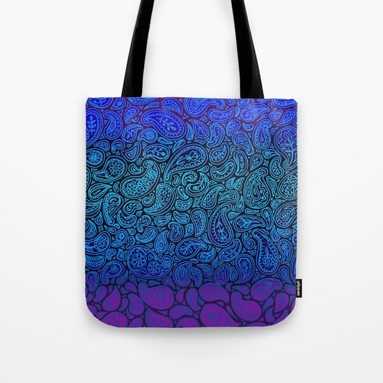 Purple Paisley - ombre paisley pattern in purple, blue and black. Tote Bag