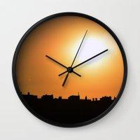 cityscape Wall Clocks featuring CityScape by Orestis Lazos