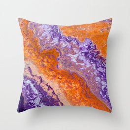 Clemson Orange and Purple Paint Pour Effect Throw Pillow