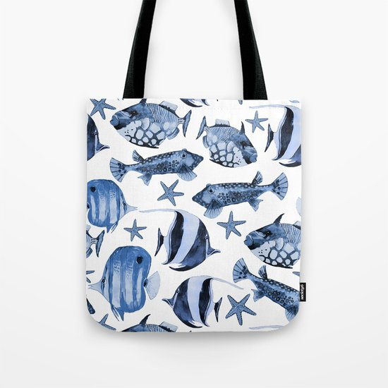 Fish underwater watercolor allover pattern Tote Bag