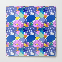 Far-Out 60's Floral in White Metal Print