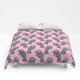 Pink Watercolor Manatee Pattern Comforters