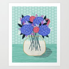 Hydrangeas Vase of cut flowers gardening gardener nature spring summer floral bloom Andrea Lauren Art Print
