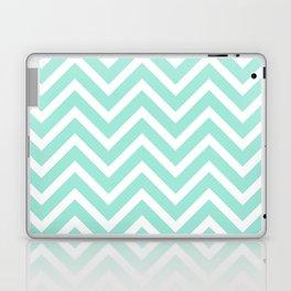 Chevron Stripes : Seafoam Green & White Laptop & iPad Skin