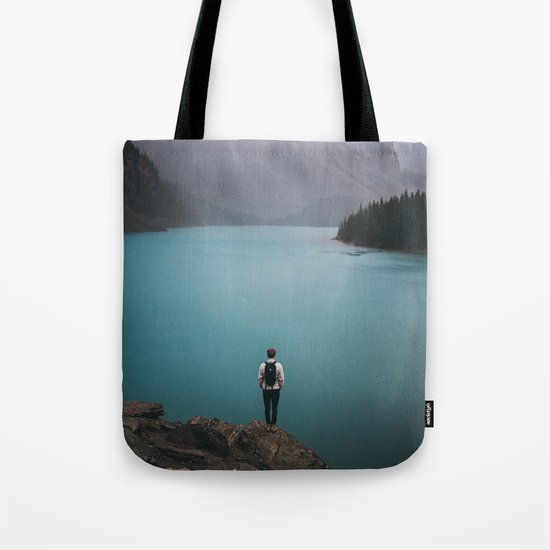 Foggy Moraine Lake Tote Bag