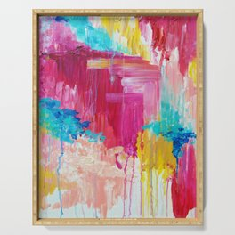 ELATED - Beautiful Bright Colorful Modern Abstract Painting Wild Rainbow Pastel Pink Color Serving Tray