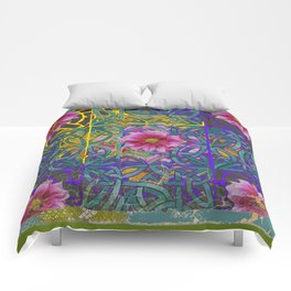 LILAC PURPLE YELLOW CELTIC PINK FLORAL ART PATTERN Comforters