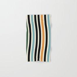 Raincore - Mid Century Modern Rainbow Retro Lines Abstract Pattern - Blue Yellow Green Red Black Hand & Bath Towel