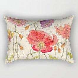 Watercolor Poppy Painting,Poppy Batik, Watercolor Batik,Poppy Watercolor, Wall Art, Floral Art, Rectangular Pillow