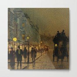 Classical Masterpiece 'Glasgow, Twilight' by John Atkinson Grimshaw Metal Print