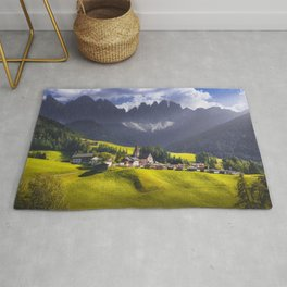 Dolomites Alps mountains, Santa Magdalena village, Italy. Rug