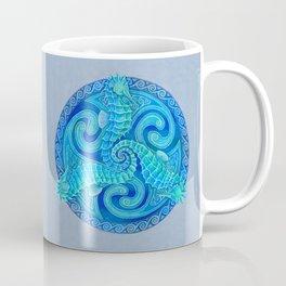 Seahorse Triskele Celtic Blue Spirals Mandala Coffee Mug