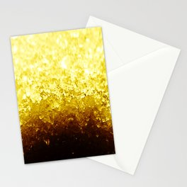 Golden Yellow Ombre Crystals Stationery Cards