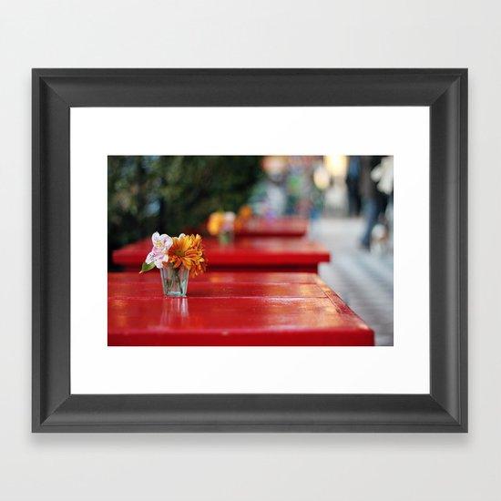 The red table Framed Art Print
