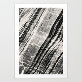 Abstract Marble - Black & Cream Art Print
