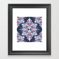 Pastel Folk Art Pattern in soft navy, pink, mauve & white Framed Art Print