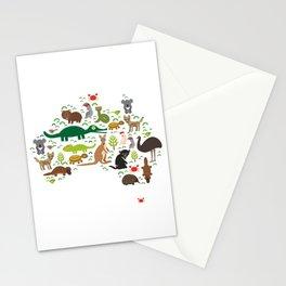 map of Australia. Echidna Platypus ostrich Emu Tasmanian devil Cockatoo parrot Wombat snake turtle Stationery Cards