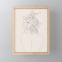 Woman with Flowers Minimal Line I Framed Mini Art Print