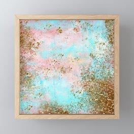 Pink and Gold Mermaid Sea Foam Glitter Framed Mini Art Print
