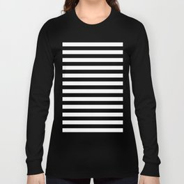 Black and White Horizontal Strips Long Sleeve T-shirt