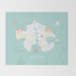 Neverland Map - Full Color Throw Blanket