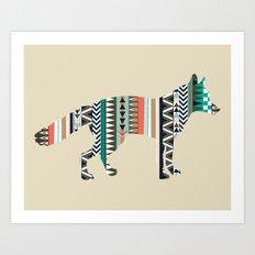 Fox With Tribal Pattern Art Print