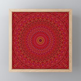 Red Lace Ornament Mandala Framed Mini Art Print