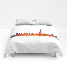Paris City Skyline Hq v2 Comforters
