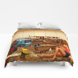 Pin Up Girl with tractor on the farm Comforters