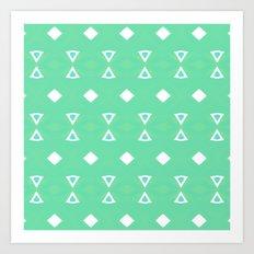 Geo Triangle Sea Green 3 Art Print