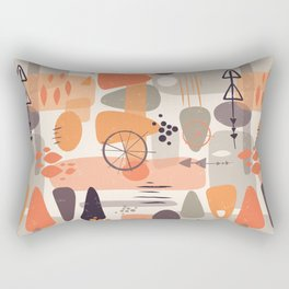 Mid Century Shapes Pattern Orange Rectangular Pillow