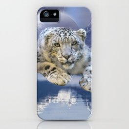 Snow Leopard and Moon iPhone Case