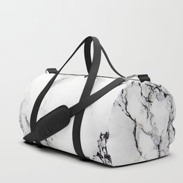 White Marble Texture Duffle Bag