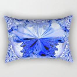 Crystal Blue Fractal Abstract Rectangular Pillow
