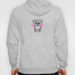 Snow Leopard Cub Fairy Wearing Glasses on Pink Hoody