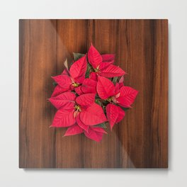 Red Christmas flower on brown wood Metal Print