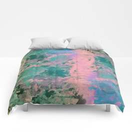 Pink and Green Paint Comforters