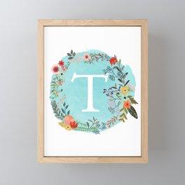 Personalized Monogram Initial Letter T Blue Watercolor Flower Wreath Artwork Framed Mini Art Print