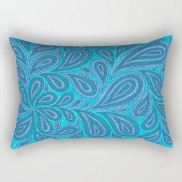 Blue and Blue Rectangular Pillow