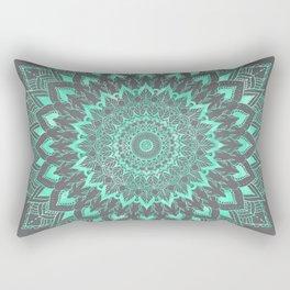 Boho turquoise watercolor floral mandala on grey cement concrete Rectangular Pillow