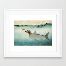 Dog Fish Framed Art Print