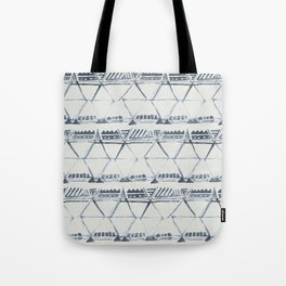 Simply Tribal Shibori in Indigo Blue on Lunar Gray Tote Bag