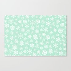 minty snow flakes Canvas Print