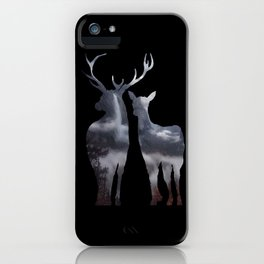 Forest deer family black pattern iPhone Case